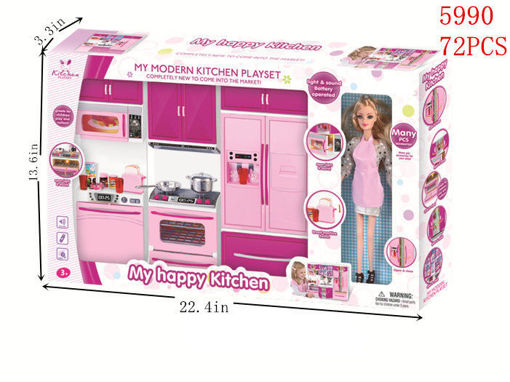 Picture of My Modern Kitchen Playset w/Doll 12 pc