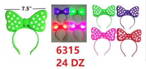 Picture of Flashing Mouse Bow Headband (PPRG) 24 dz